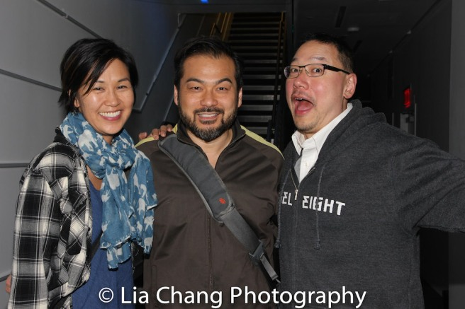 Cindy Cheung, KPOP cast member David Shih and Ed Lin. Photo by Lia Chang