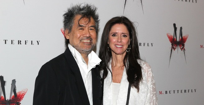 David Henry Hwang and Julie Taymor in front of the Cort Theatre on the opening night of M. BUTTERFLY on October 26, 2017. Photo by Lia Chang