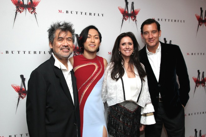 David Henry Hwang, Jin Ha, Julie Taymor and Clive Owen at the M. BUTTERFLY opening night party at the Red Eye Grill in New York on October 26, 2017. Photo by Lia Chang