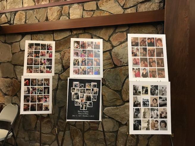 Family photo montages from Nancy Lee Chang's visitation at Cypress Lawn in Colma, CA. on November 16, 2017.