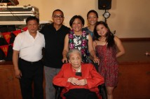 Nancy Lee Chang with son-in-law Bob Baptista, grandson Eric Langandaon, daughter Pauline Chang, granddaughters Alaina Langandaon and Leah Baptista in 2014.