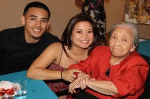 JR, Leah Baptista and her grandmother Nancy Lee Chang in April 2014.