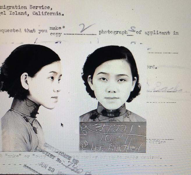 1937- Lee Bak Huen (age 15) at the Angel Island Immigration Station.