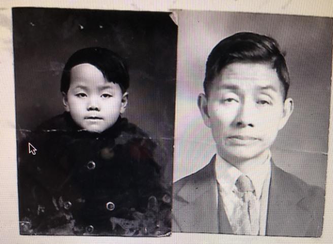 1928- Lee Bak Huen (Age 6) and her father Lee Ah Kon