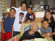 Nancy Lee Chang - 96th Birthday with great-grand children Mason, Tai Indio, Myles and Mya on August 20, 2017