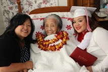 Nancy Lee Chang with her granddaughter Marissa Chang-Flores and great-granddaughter Asia Flores on May 31, 2014. photo by Lia Chang