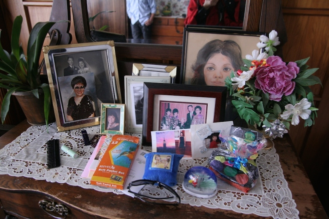 Nancy Lee Chang's bureau at her rest home.
