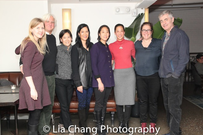 Co-producer Fenell Doremus, Producer Mark Mitten, Jill Sung, Vera Sung, Chanterelle Sung, Heather Sung, Producer Julie Goldman, Director Steve James. Photo by Lia Chang