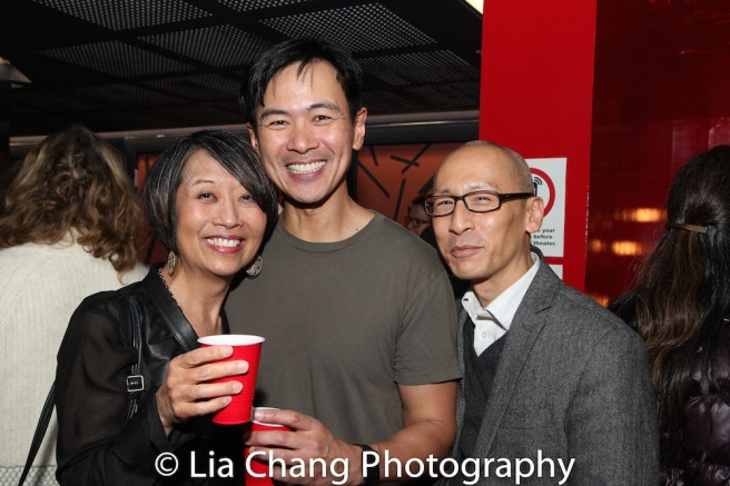 Playwright Jeanne Sakata, Joel de la Fuente and Francis Jue. Photo by Lia Chang