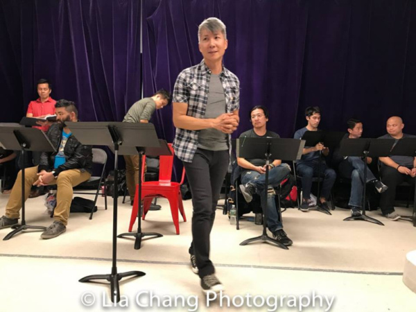 GOLD MOUNTAIN creator Jason Ma and the company in rehearsal at Ripley-Grier Rehearsal Studios in New York. Photo by Lia Chang