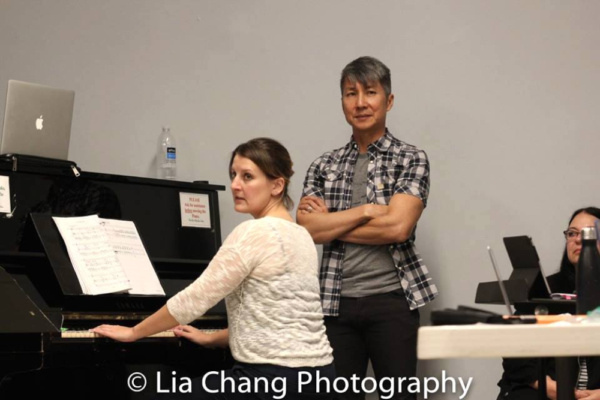 GOLD MOUNTAIN musical director Kristen Lee Rosenfeld and creator Jason Ma at Ripley-Grier Rehearsal Studios in New York. Photo by Lia Chang