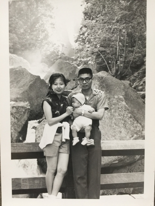Jason Ma with his parents at Yosemite National Park in the Sierra Nevada.
