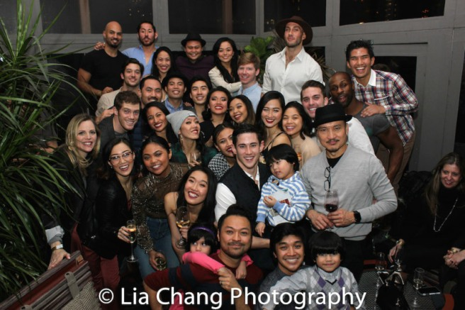 The cast of MISS SAIGON at the closing night party at the Dream Hotel in New York on January 14, 2018. Photo by Lia Chang