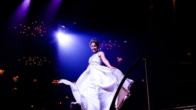 "Shoba Narayan in ""Natasha, Pierre, and the Great Comet of 1812"". Photo by Nick Gaswirth"