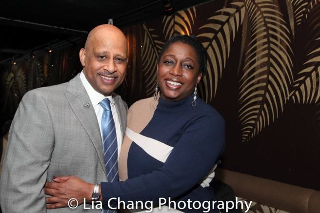 Ruben Santiago Hudson and Felicia D. Henderson, Showrunner and Executive Producer of THE QUAD at the opening night party of the JITNEY at the Copacabana on January 19, 2017. Photo by Lia Chang