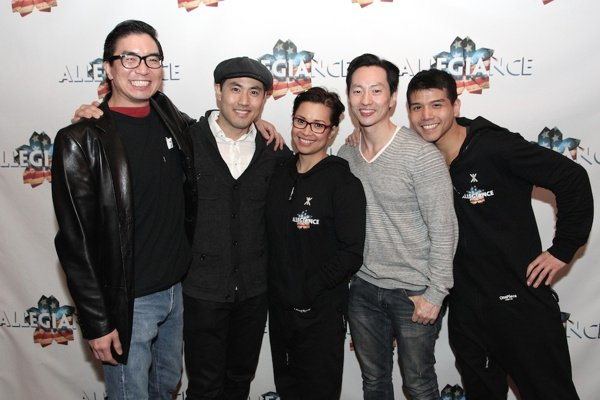 Greg Watanabe, Marcus Choi, Lea Salonga, Michael K. Lee and Telly Leung at the closing night party of ALLEGIANCE in New York on February 14, 2016. Photo by Lia Chang