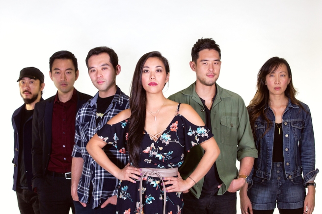 Abraham Kim, Daisuke Tsuji, Joe Ngo, Brooke Ishibashi, Raymond Lee and Jane Lui in South Coast Repertory's world premiere production of Cambodian Rock Band by Lauren Yee. Photo by Danielle Bliss/SCR.