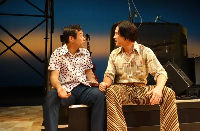 Joe Ngo and Raymond Lee in South Coast Repertory's world premiere production of Cambodian Rock Band by Lauren Yee. Photo by Tania Thompson/SCR.