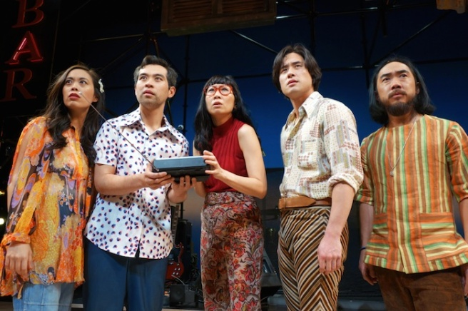 Brooke Ishibashi, Joe Ngo, Jane Lui, Raymond Lee and Abraham Kim in South Coast Repertory's world premiere production of Cambodian Rock Band by Lauren Yee. Photo by Tania Thompson/SCR.