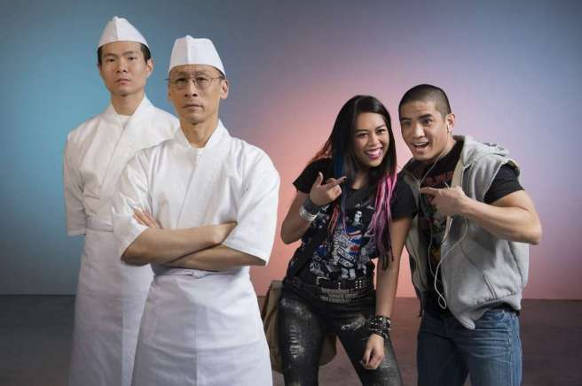 """Sushi protege Takashi (James Seol), sushi master (Francis Jue) and newcomers Ama (Nicole Javier) and Nobu (Linden Tailor) in """"Tokyo Fish Story."""" Photo by Kevin Berne"""