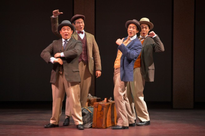 "From left, Phil Wong, James Seol, Hansel Tan and Sean Fenton star in ""The Four Immigrants: An American Musical Manga."" Kevin Berne/TheatreWorks Silicone Valley"