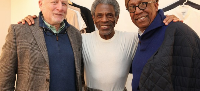 Tad Schnugg, André and George Faison backstage at Yale's Rep's production of SEVEN GUITARS on December 1, 2016. Photo by Lia Chang