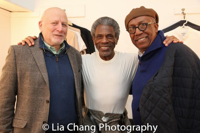 Tad Schnugg, André De Shields and George Faison backstage at Yale's Rep's production of SEVEN GUITARS on December 1, 2016. Photo by Lia Chang