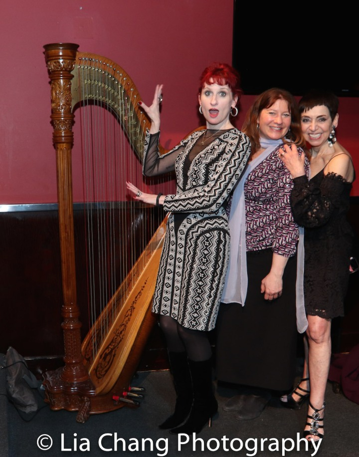 """Bistro associate producer Wendy Lane Bailey, Bistro recipient harpist Maria Banks who is part of the """"Thank You for Your Love"""" team and producer Sherry Eaker. Photo by Lia Chang"""