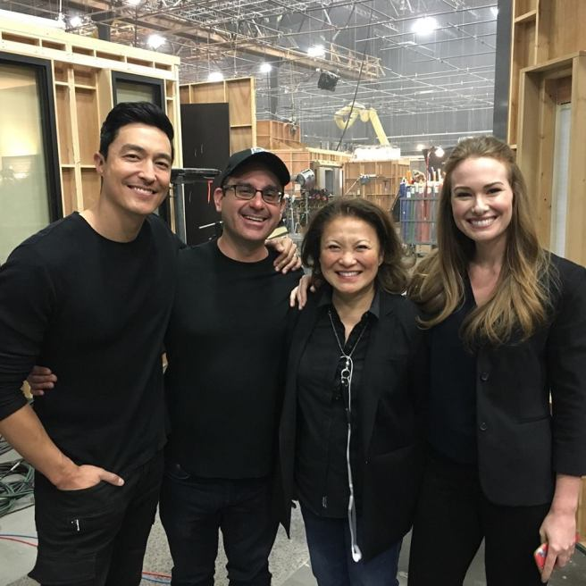 "Daniel Henney, Christopher Barbour, Lily Mariye and Kelly Frye on the set of ""Criminal Minds."""