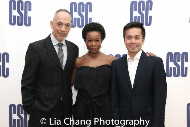 2018 Lucille Lortel nominees Thom Sesma, Quincy Tyler Bernstine and Steven Eng. Photo by Lia Chang