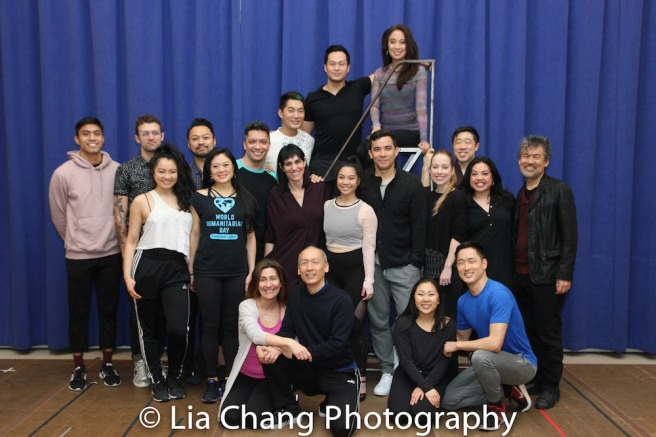 Seated: Jeanine Tesori, Francis Jue, Kendyl Ito, Daniel May. Standing: Trevor Salter, Sam Pinkleton, Emily Stillings, Billy Bustamante, Kristen Faith Oei, Jon Hoche, Leigh Silverman, Austin Ku, Paul HeeSang Miller, Jaygee Macapugay, Geena Quintos, Conrad Ricamora, Alyse Alan Louis, Raymond J. Lee, Maria-Christina Oliveras, David Henry Hwang. Photo by Lia Chang