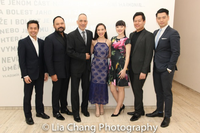 Some of the Drama League nominated cast of Classic Stage Company's PACIFIC OVERTURES - Steven Eng, Orville Mendoza, Thom Sesma, Kimberly Immanuel, Megan Masako Haley, Kelvin Moon Loh, Karl Josef Co. Photo by Lia Chang