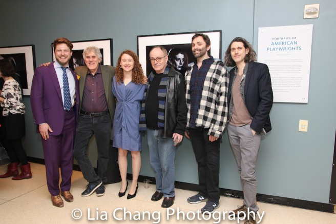 Benjamin Scheuer, Mike Folie, Bronwen Sharp, Mac Wellman, Christopher Shinn, Lucas Hnath. Photo by Lia Chang