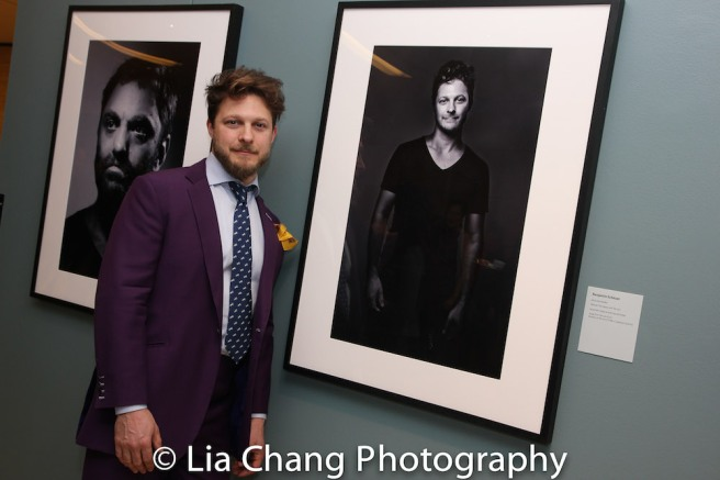 Benjamin Scheuer at the opening reception of PORTRAITS OF AMERICAN PLAYWRIGHTS by Bronwen Sharp at the New York Public Library for the Performing Arts on April 11, 2018. Photo by Lia Chang