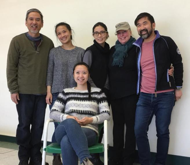 Playwright Chloé Hung (seated), Stan Egi, Christina Liang, Kathleen Kwan, Director Lisa James, Fenton Li.