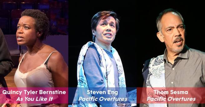 Classic Stage Company's three Lortel Awards nominated performers, Quincy Tyler Bernstine for As You Like It, Steven Eng, and Thom Sesma for Pacific Overtures.