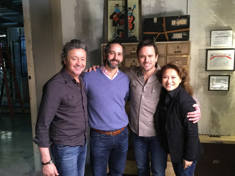 "On the set of ""Nashville"" (from left): Mark Collie, who plays Frankie Gray and is a country hitmaker in real life; Taylor Hamra, writer and co-executive producer; Charles Esten, who plays Deacon Claybourne; and director Lily Mariye. (Photo courtesy Lily Mariye)"