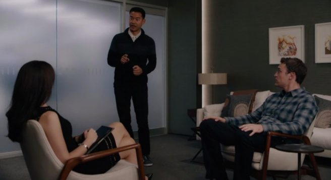 "Maggie Siff, Daniel K. Isaac and Dan Soder in ""Billions."""