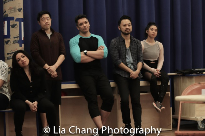 Maria-Christina Oliveras, Raymond J. Lee, Jon Hoche, Billy Bustamante and Geena Quintos. Photo by Lia Chang