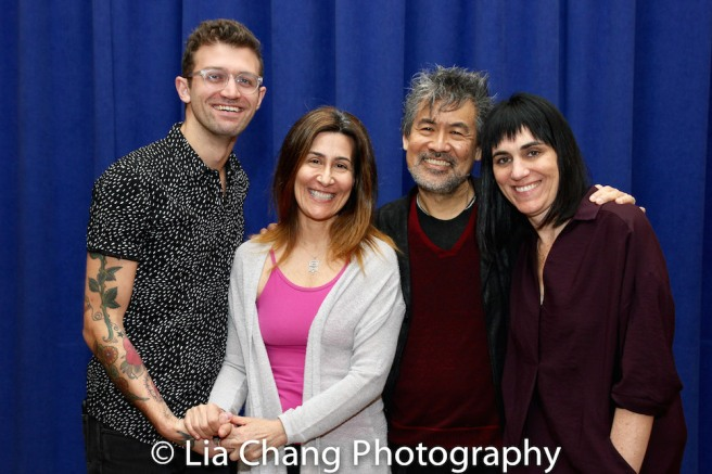 Sam Pinkleton, Jeanine Tesori, David Henry Hwang and Leigh Silverman. Photo by Lia Chang