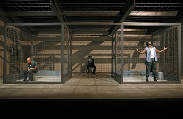 Sean Carvajal, Ricardo Chavira and Edi Gathegi in Jesus Hopped the A Train. Photo: Joan Marcus