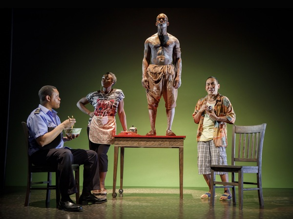 Kevin Mambo, Ito Aghayere, Sahr Ngaujah, and Jojo Gonzalez in MLIMA'S TALE. Photo Credit: Joan Marcus