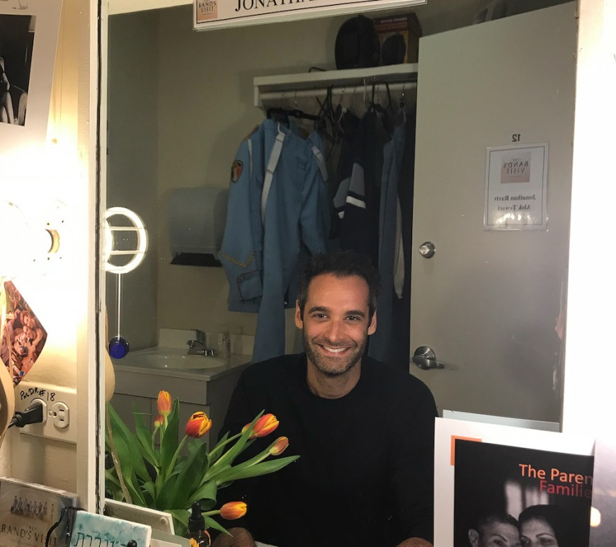 Jonathan Raviv in his dressing room at The Barrymore in New York. Photo by Lia Chang