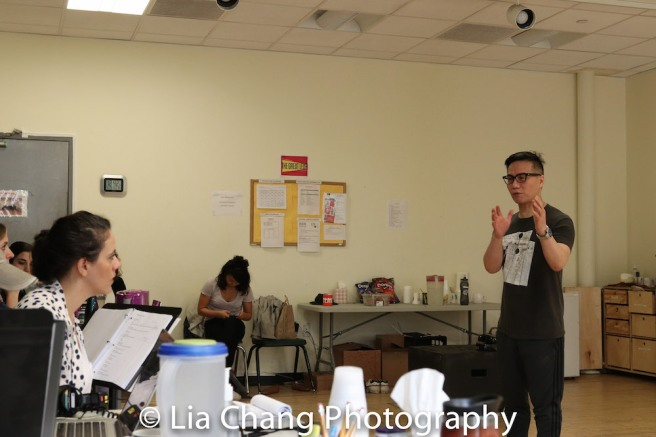 Director Taibi Magar and BD Wong in rehearsal for Lauren Yee's THE GREAT LEAP in Atlantic's rehearsal studio on May 17, 2018 in New York. Photo by Lia Chang