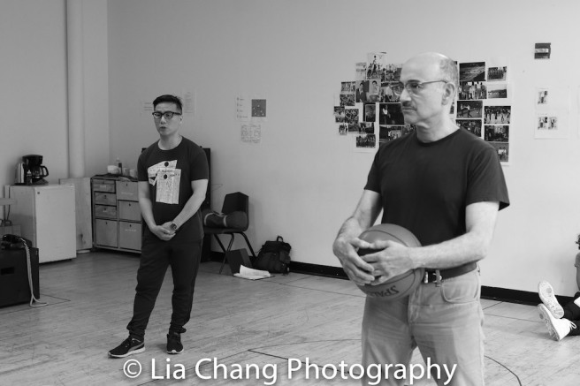 BD Wong and Ned Eisenberg in rehearsal for Lauren Yee's THE GREAT LEAP in Atlantic's rehearsal studio on May 17, 2018 in New York. Photo by Lia Chang