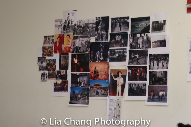 Inspiration wall for Lauren Yee's THE GREAT LEAP in Atlantic's rehearsal studio on May 10, 2018 in New York. Photo by Lia Chang