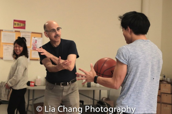 Ali Ahn, Ned Eisenberg, Tony Aiden Vo in rehearsal for Lauren Yee's THE GREAT LEAP in Atlantic's rehearsal studio on May 17, 2018 in New York. Photo by Lia Chang