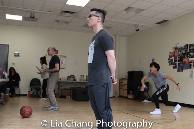 Ali Ahn, Ned Eisenberg, BD Wong and Tony Aidan Vo in rehearsal for Lauren Yee's THE GREAT LEAP in Atlantic's rehearsal studio on May 17, 2018 in New York. Photo by Lia Chang