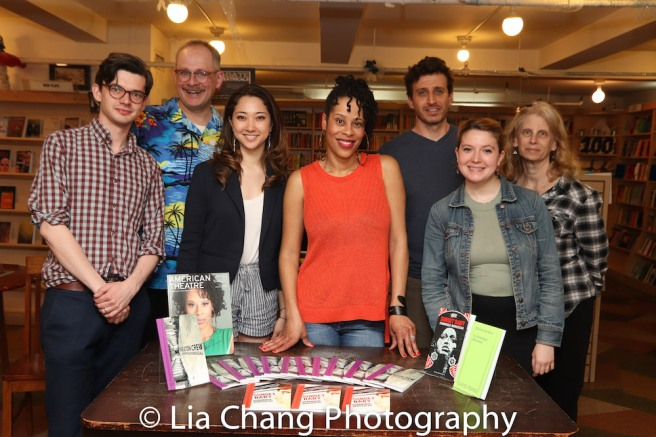 Dominique Morisseau and the staff of The Drama Bookshop in New York on May 7, 2018. Photo by Lia Chang