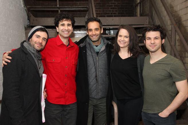 Adam Kantor, John Cariani, Jonathan Raviv, Yael Silver, Etai Benson at THE BAND'S VISIT at The Barrymore in New York. Photo by Lia Chang